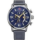 Mini Focus - Relojes Deportivos de Cuarzo para Hombre, con cronógrafo de Piel, Relogio Masculino MF0025G, 03 Azul Gris, Azul y Azul