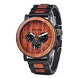 HWCOO Relojes de Madera, Reloj De Cuarzo Unisex Totalmente De Madera Reloj De Madera Impermeable Multifunción De Tres Ojos (Color : 2)