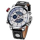 WEIDE - Reloj de pulsera analógico digital para hombre, correa de piel, cronómetro, luz de fondo, resistente al agua